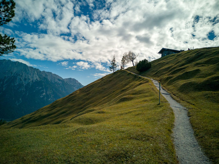 Scenic view from höher kranz erg on a hiking path towards karwendel, bavarian alps