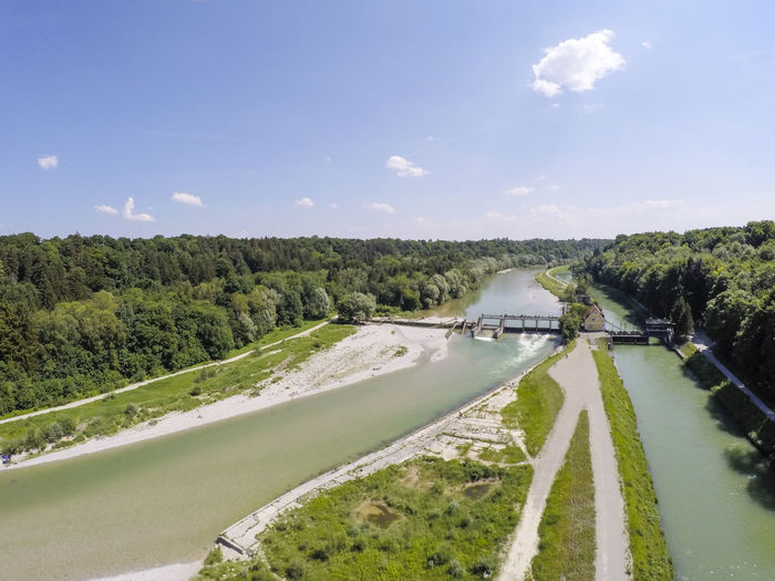 An aerial shot of the Isar canal and the Isar river from Pullach bridge in Munich, Germany Tree Sky Nature Day Architecture No People Cloud - Sky Transportation Built Structure Environment Scenics - Nature Beauty In Nature Tranquil Scene Landscape Tranquility River Fuel And Power Generation Outdoors Flowing Water Canal Pullach Pullach Im Isartal German River Isar Summer