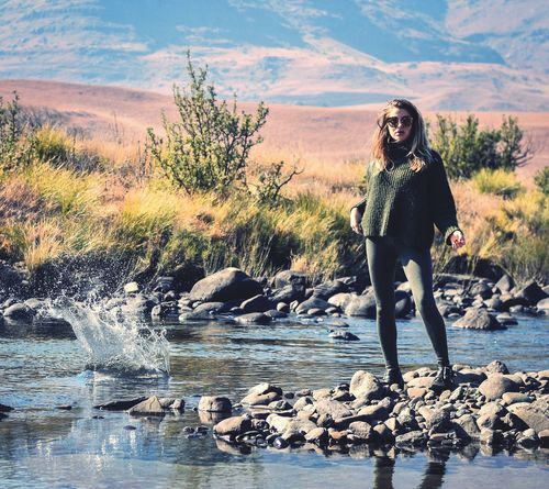 Oblivious poise Adult Only Women One Person One Woman Only Adults Only Front View Women Outdoors Full Length Beauty Nature Beauty In Nature Beautiful Woman Portrait Water Splash River Style Day Durban Durban South Africa Drakensberg, South Africa