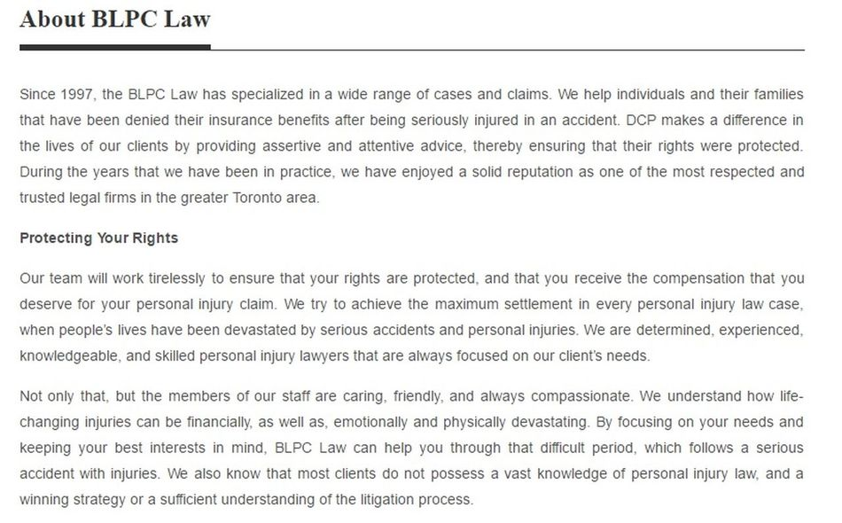 BLPC Law 767 Barry Downe Rd #208B Sudbury, ON P3A 3T6 (800) 758-3108 https://blpclaw.ca/sudbury-personal-injury-lawyer.html Personal Injury Lawyer Sudbury Injury Law Firm Sudbury Injury Lawyer Sudbury Personal Injury Law Firm Sudbury Personal Injury Lawyer Sudbury ON