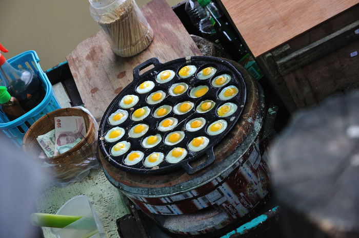 Quail Eggs Day Fired Rice Food High Angle View No People On The Boat Thai Street Food