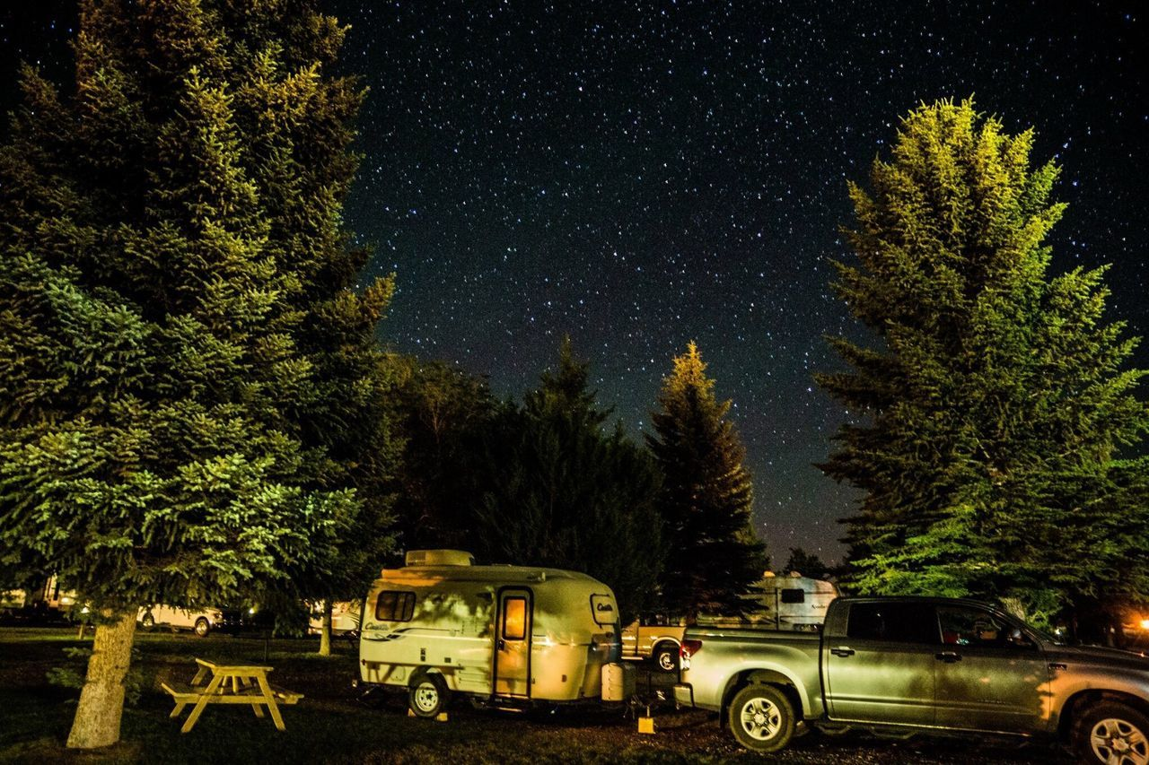 tree, night, transportation, land vehicle, no people, star - space, sky, nature, outdoors, astronomy, galaxy