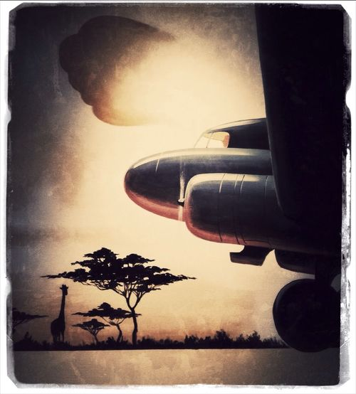Reproduction/re-interpretation of an old travel poster in a restaurant. Further re-interpreted with a couple of apps.