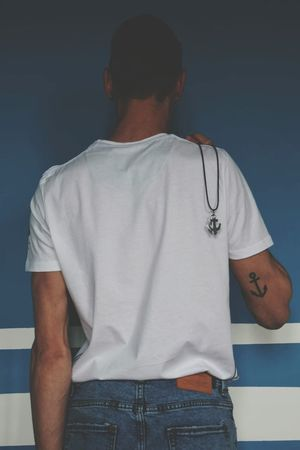 Men Standing Human Back Rear View T-shirt Back Mid Adult Close-up Casual Clothing