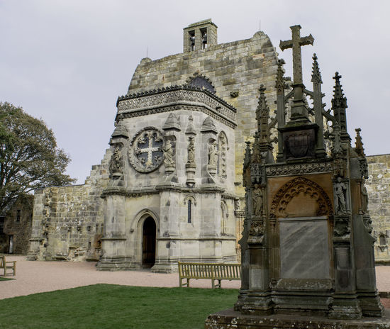 Roslin Rosslyn Chapel Scotland Tourist Attraction  Architecture Building Exterior Built Structure Day Grass History Low Angle View No People Outdoors Place Of Worship Religion Sky Spirituality