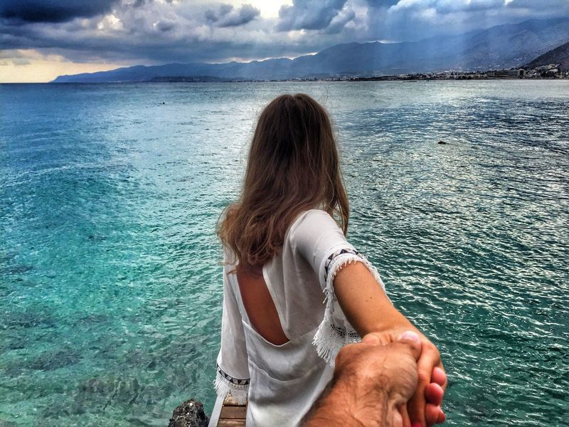 People And Places Water Person Rear View Vacations Mountain Tranquil Scene Tranquility Leisure Activity Scenics Tourist Tourism Sea Travel Mountain Range Lifestyles Carefree Cloud - Sky Beauty In Nature Nature Long Hair Greece Crete