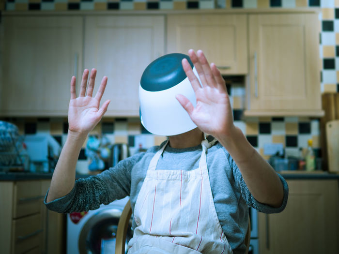 lost in the kitchen Abstract Photography Boys Casual Clothing Childhood Day Holding Human Hand Indoors  Kitchen Leisure Activity Lifestyles Lost One Person Playing Real People Standing Visual Reality