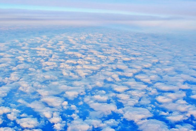 Cloud - Sky Sky Scenics - Nature Beauty In Nature No People Aerial View Cloudscape Nature Tranquility Tranquil Scene Outdoors Environment Atmosphere High Up Fluffy Meteorology White Color Softness Above Full Frame Background