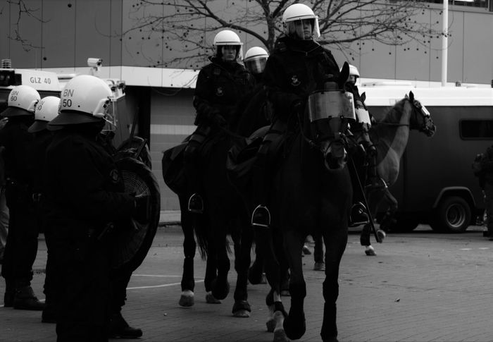 Bergen op Zoom [NL] - 'Taking positions' Dutch Police Public Safety Riot Police Dutch Demonstration Police Black & White Black And White Police Horse Policehorse Horse Mounted Police Mounted People Streetphotography Welcome To Black The Street Photographer - 2017 EyeEm Awards