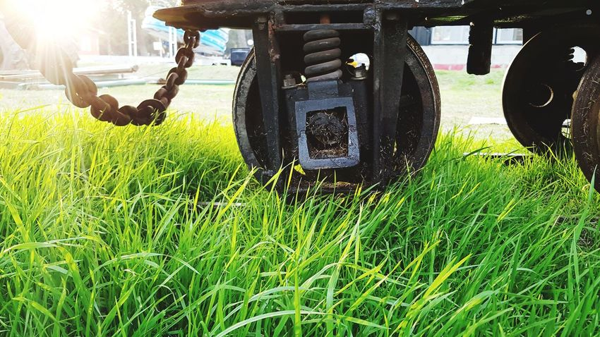 Grass Field Green Color Growth Outdoors Day No People Nature Combine Harvester Agricultural Machinery Agriculture Train Rail