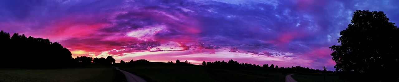 Tree Night Outdoors Silhouette Nature No People Sky Landscape Beauty In Nature Scenics Playing With Colours Blue Pink Color Multi Colored Field Purple Agriculture Dusk Rural Scene Tree Rural Landscape Sunset Photography Sunset Tranquil Scene Nature