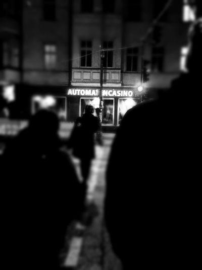 Berlin Berlin At Night Black And White Blackandwhite Boxhagener Straße Casino City Lights Friedrichshain Warschauer Ecke Boxhagener Warschauer Straße