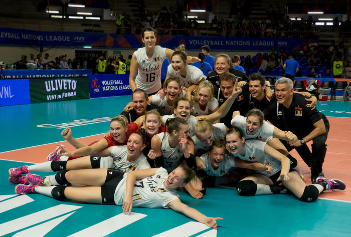 VOLLEY NATIONS LEAGUE 2018 - BELGIUM TEAM Adult Crowd Emotion Group Of People Indoors  Large Group Of People Leisure Activity Lifestyles Looking Men Real People Sitting Smiling Sport Sports Volleyball Women Young Adult Young Men Young Women