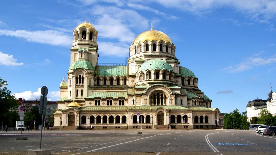 Church Orthodox Church Sofia, Bulgaria Aleksandernevskicathedral Architecture Belief Building Building Exterior Built Structure Bulgaria City Cloud - Sky Day Dome History Nature No People Place Of Worship Religion Road Sky Street The Past Transportation Travel Travel Destinations
