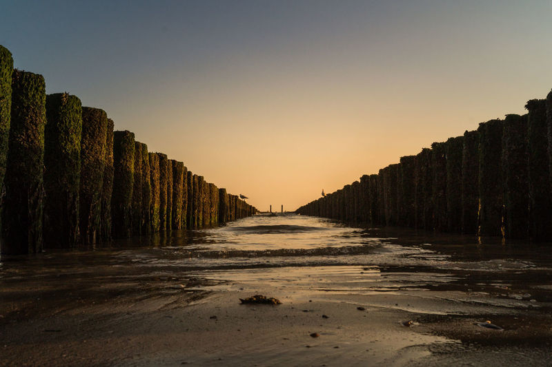 Symetry Westkapelle -Netherlands Beauty In Nature Clear Sky Day Golden Hour Landscape Nature No People Outdoors Scenics Sea Sky Sunset The Way Forward Tranquility Wooden Post