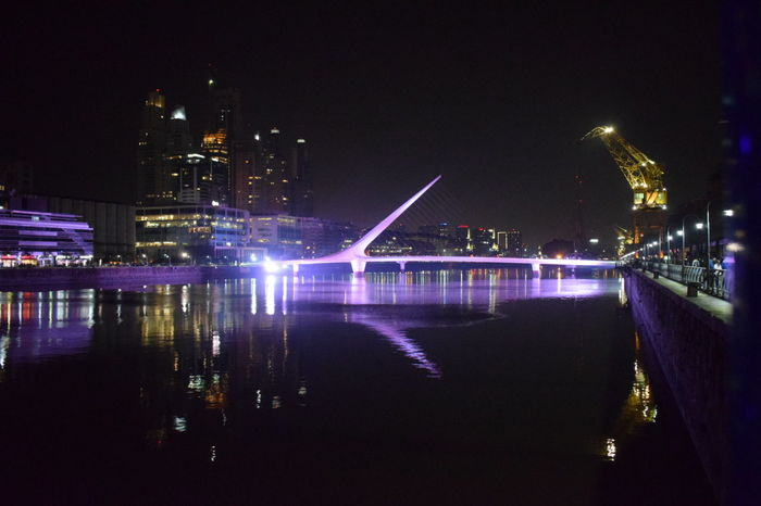 Puente De La Mujer Night Architecture Puerto Madero Buenos Aires City No People Water Illuminated
