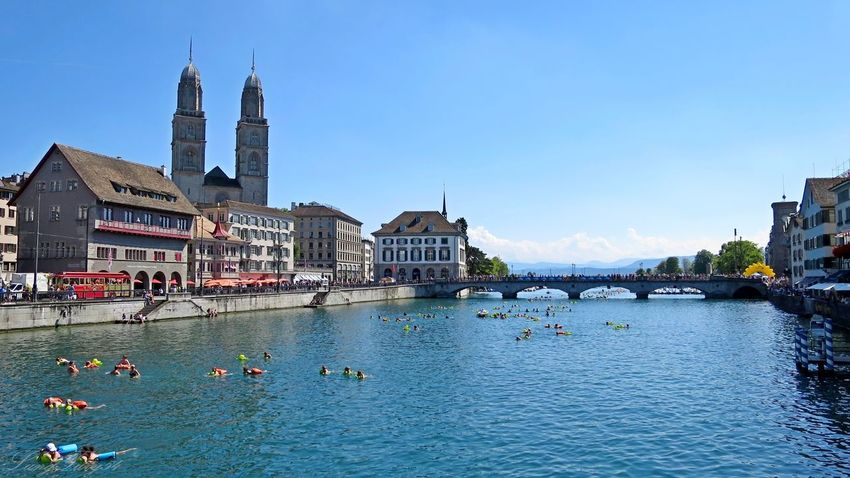 Limmat Blick Richtung Zürichsee Architecture Built Structure City City Life Grossmünster Limmat Limmatquai Limmatschwimmen Outdoors River Switzerland Tourism Travel Destinations Zurich, Switzerland Zürich