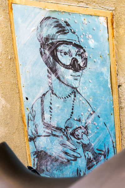 Beautiful street art in Italy Architecture Art And Craft Blue Close-up Craft Creativity Day Door Entrance Human Body Part Human Representation Indoors  Male Likeness Mural Paint People Real People Representation Streetart Wall - Building Feature