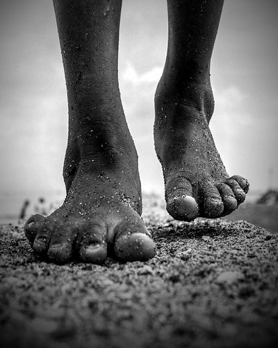 Walk Walking Kid Feet Walk Low Section Standing Human Leg Men Sand City Human Foot Close-up