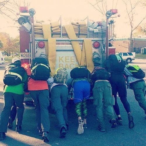 TBT  throwback to last week when we manhandled a fire truck in a parking lot Gorucktough Goruck Legdayeveryday