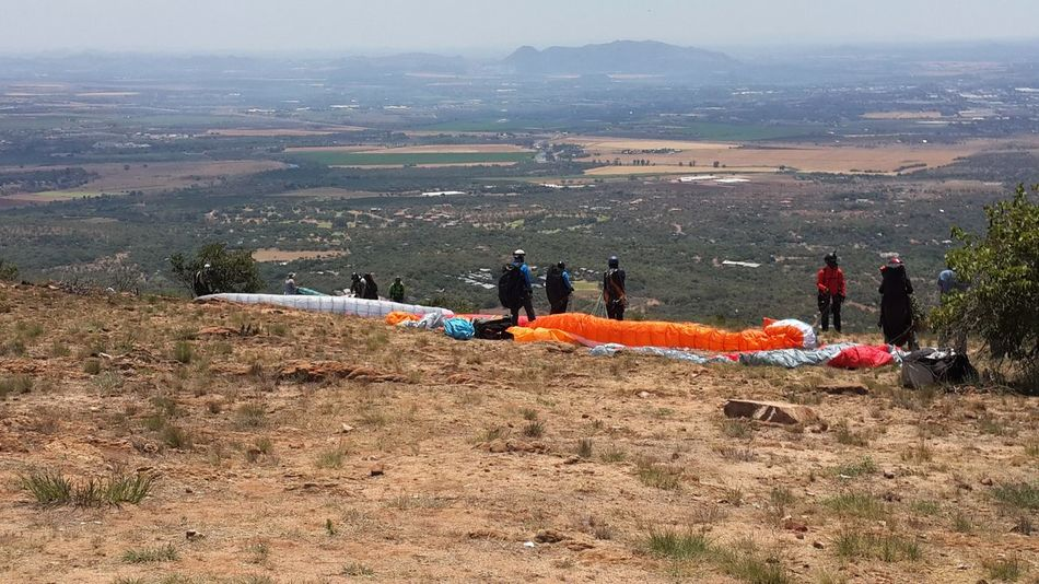 Paragliding South Africa Beauty In Nature Hartebeespoort Jumping Large Group Of People Lifestyles Outdoors Real People Sport Togetherness Second Acts