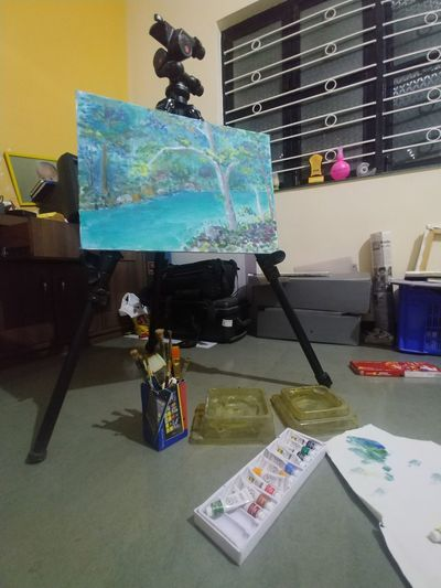 Multi colored art on table at home