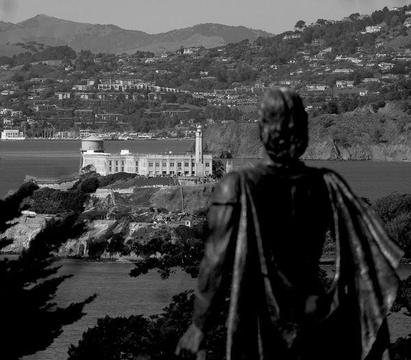 Alcatraz Alcatraz In Sight Black And White Coit Tower San Francisco Statue Vista