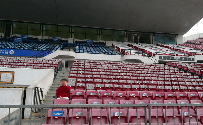 Adult Adults Only America's Cup Copa America Day Estadio Nacional, Chile Football Stadium In A Row Indoors  Lonely Rooter One Man Only People Red Soccer Stadium Stands