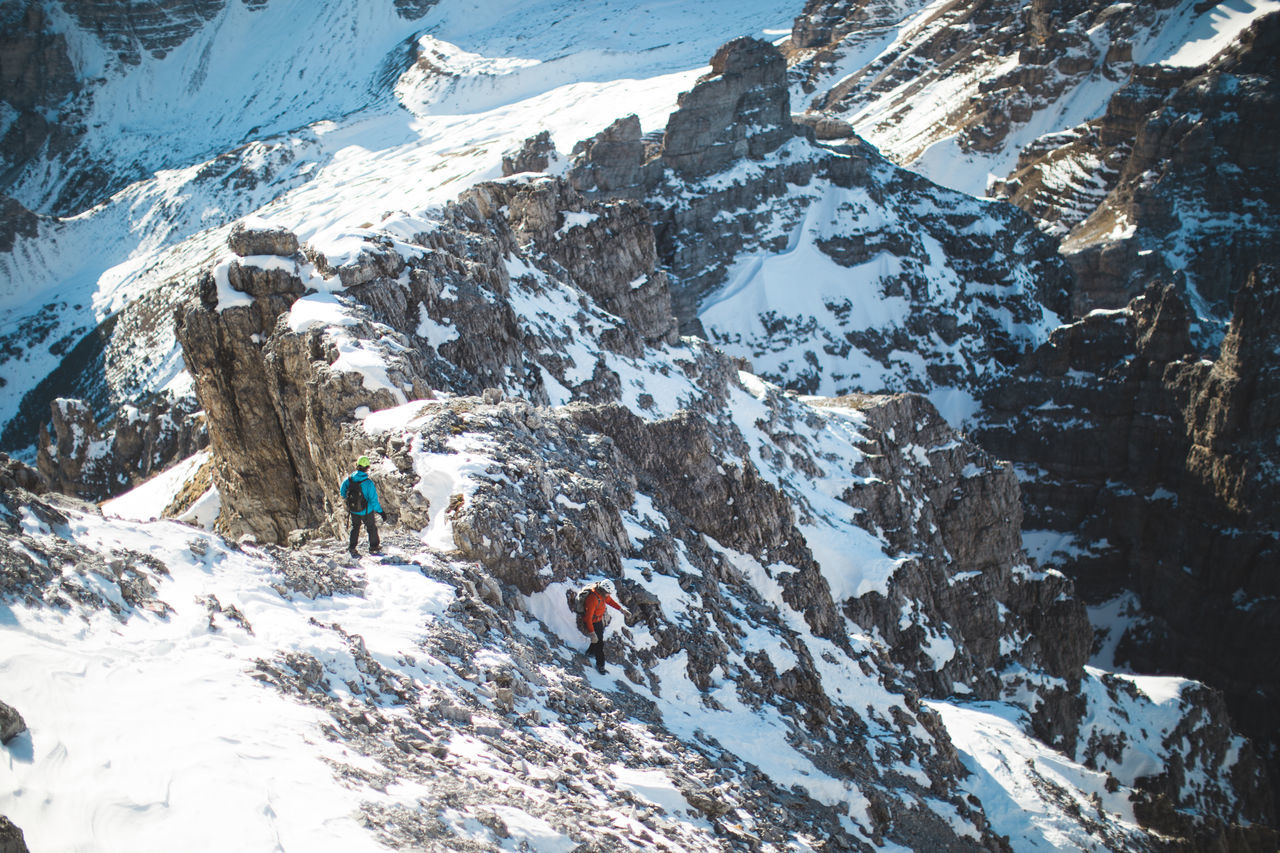 High angle view of friends hiking on snowcapped mountain