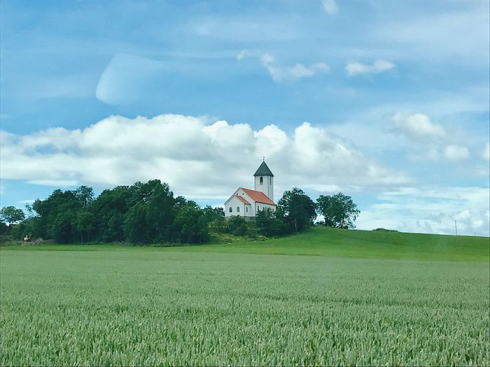 Nature Agriculture Landscape Church Norway Borgekirke Summertime Green Color Field Growth Cloud - Sky Day Rural Scene Outdoors The Traveler - 2018 EyeEm Awards