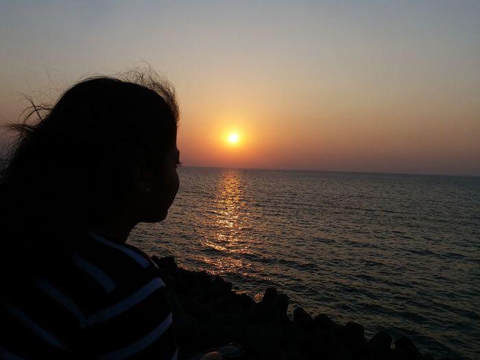 sunset @mumbai marine drive Mumbai Sea Sunset One Person Silhouette Beach People
