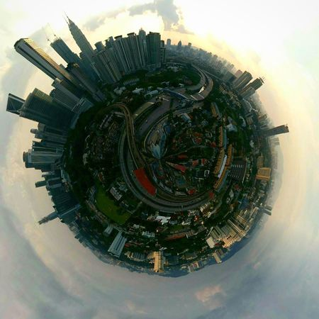 Kuala lumpur in sphere view Planet Earth Tiny Planet Spherephotography Spherical Panorama Kuala Lumpur KLCC Twin Towers KLCC❤❤ Cloud - Sky Skyscraper Cityscape Architecture Sky Built Structure Urban Skyline Building Exterior Architecture Sunset No People Outdoors EyeEmNewHere Lrt Station City Life Modern Lost In The Landscape