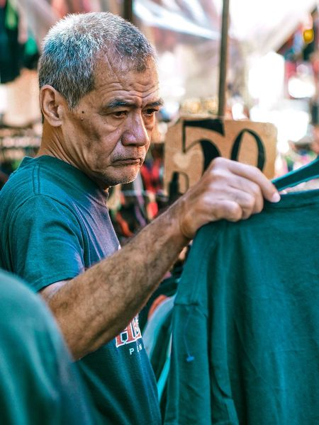 Thrift Shop Only Men Men People One Person Human Hand Day Shopping Quiapo Manila, Philippines Tiangge
