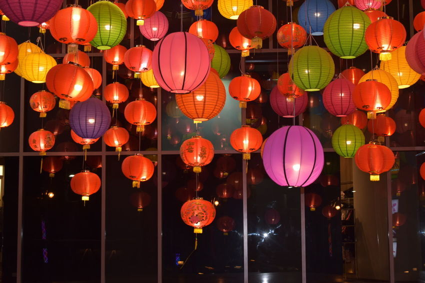 lighted colorful chinese new year's lanterns Celebration Hanging Illuminated Lantern Lighted Chinese New Year's Lanterns As Background Lighting Equipment Night No People