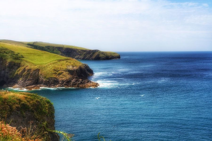 A view of the blue sea and gentle, green cliffs of Cornwall. Cornwall Cornwall Uk Cornwall Walks Cornish Coast Coast Coastline Coastal Coastal Life Coastal_collection Cliff Cliffs Cliffside Ocean Ocean View Seaside Landscape Landscape_Collection Landscape_photography Landscapes With WhiteWall