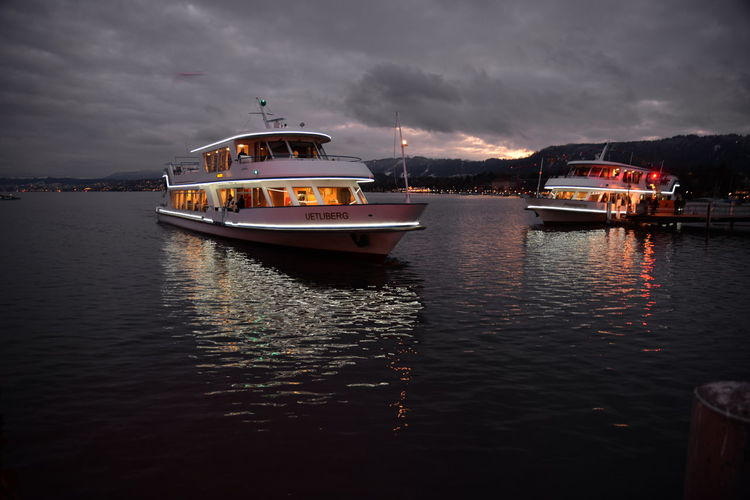 Boat Lake Of Zurich, Ships, Night On The Lake, Winter Light Nautical Vessel Outdoors Water Waterfront