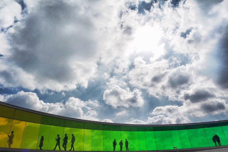 Rainbow Path Cloud - Sky Sky Real People Lifestyles Day Large Group Of People Outdoors Sport Nature Men Stadium Crowd People Aarhus, Denmark ARos Art Museum