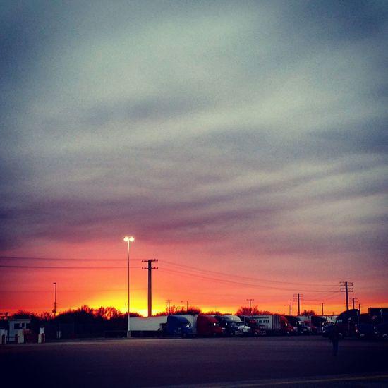 Sunset Texas Texas Sky At A Truckstop