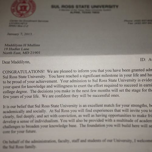 Accepted to Sul Ross State University!! GoingToCollege AlpineTexas NotGoingToCecil Yay CollegeBound