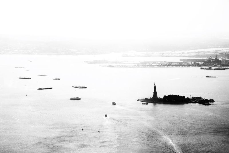 Statue of Liberty Statue Of Liberty Black And White Photography Staten Island Ferry Water Transportation Sky Nature Mode Of Transportation Beauty In Nature Silhouette Travel Waterfront