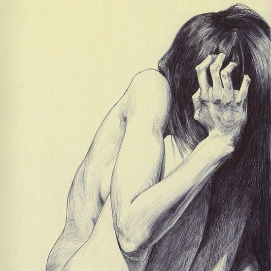 Scared (detail), ink on paper. Scared Sensual Dibujo Ilustracion Ballpoint Bic Boli Hear Art Desnuda Beauty Biro Drawing Girl Illustration Desnudo Pen Arte