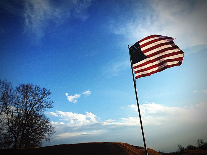 Showcase: February Kentucky  Sky Clouds Clouds And Sky Cloud_collection  IPhoneography Blue Sky Beautiful Day Flag USA Patriotism For The Love Of America Here Belongs To Me