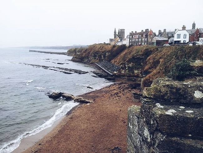 The view from the castle 1 Vscocam VSCO Vscotland VisitScotland Explorescotland Ig_Scotland Ig_uk Latergram Instanature Standrews Scotland Igersscot IgersScotland View Pointofview Beach Seascapes