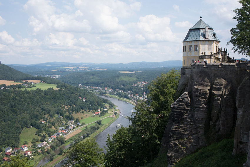 Another item on our holiday checklist ticked off - Königstein Stronghold, an impressive rock formation looking over the Elbe river Festung Königstein Postcard Rock Sky And Clouds Landscape River Sandstone Scenics Stronghold Tower View From Above