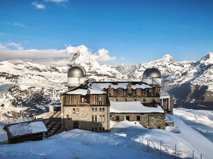 Gornergrat Hotel May Morning View Landscape Travels Switzerland Alps Nature Matterhorn  Gornergrat Mountain Sky Nature Day No People Blue Architecture Scenics - Nature Tranquility Snow Outdoors Beauty In Nature