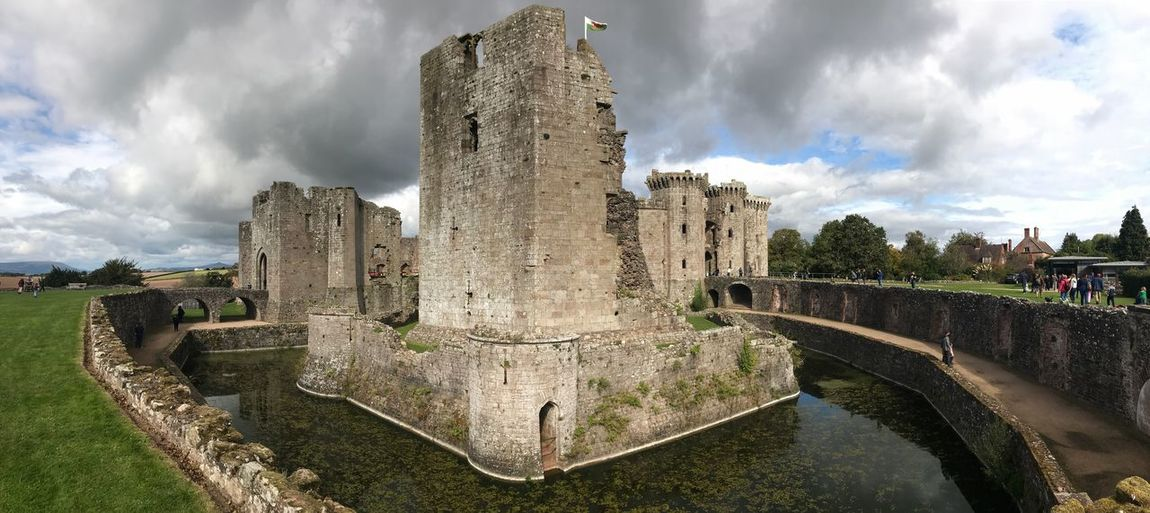Ruins Wales, UK Raglan Castle Welsh Castle Architecture Cloud - Sky Sky Built Structure Water Fountain Nature Outdoors The Past History Building Exterior