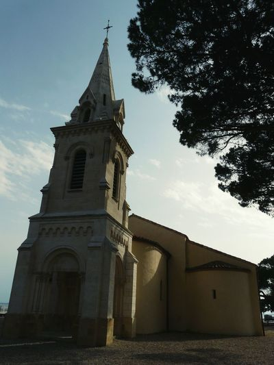 Place Of Worship Architecture Bell Tower Church Tower Pine Tree Eglise Saint Eloi Vertical Photography In Andernos-les-Bains France