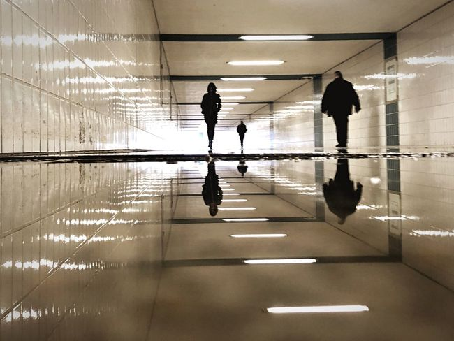 Water Reflections Reflection Indoors  Full Length Architecture Real People Arcade People