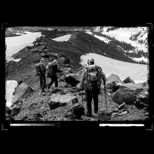 Some hikers coming down summit ridge on South Sisters. Messing around with some editing on borders for my photography class. Canon Canon_official Team_canon Hiking Bpmag Hikingadventures Trails Follow Blackandwhite Backandwhitepic Bnw Bnw_captures Bnw_society Visitbend Bendlife New Love Thepnwlife Reiproject1440 Mountains PNWonderland Centraloregon_igers Westcoast_exposures Exploregon Me explore instagood photooftheday wanderlust oregonexplored