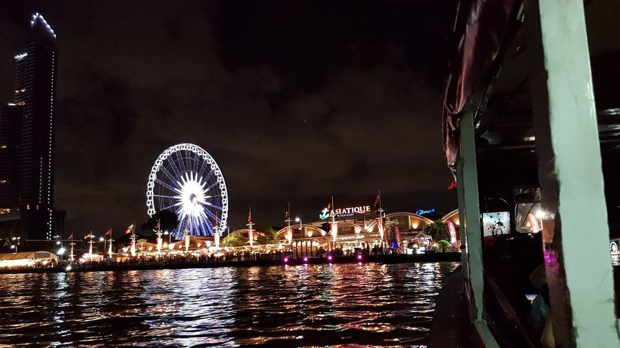 Asiatique The Riverfront Ferry Chao Phaya River Arts Culture And Entertainment Night Outdoors Ferris Wheel Vacations Travel Thailand Water Harbor